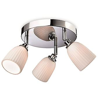 3 Light Bathroom Flush Chrome, Porcellana Sfumature IP44, G9