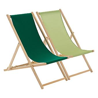 Traditional Adjustable Beach Garden Deck Chairs - Lime / Green