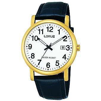 Lorus Mens Classic Gold Plated Uhr mit Lederarmband (Modell Nr. RG836CX9)