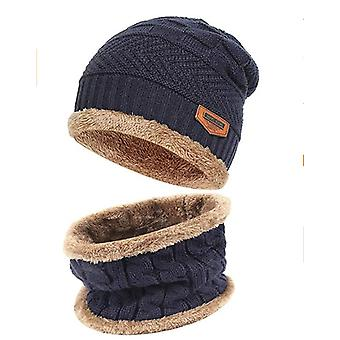 2-pieces Winter Beanie Hat Scarf Set Warm Knit Hat Thick Fleece Lined Winter Cap Scarves For Adults/child