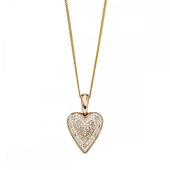 Joshua James Precious 9ct Yellow Gold & Diamond Pave Heart Pendant