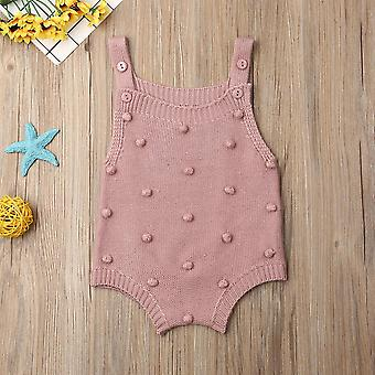 Baby Spring Autumn Clothing Newborn Baby Knit Dots Jumpsuit Solid Bodysuit Cotton Clothes Sleeveless Outfit
