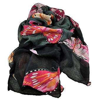 Krawatten Planet Schmetterling Tier Druck grau & schwarz leichtgewicht Frauen's Schal Schal