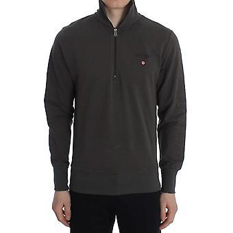 Aeronautica Militare Gray Cotton Stretch Half Zipper Sweater