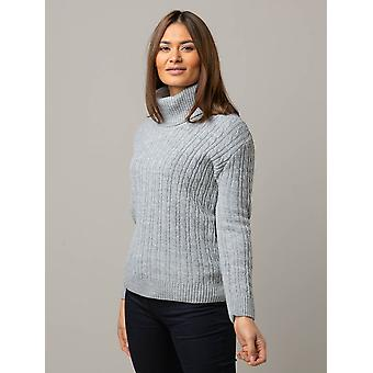Mischa Cable Knitted Roll Neck Jumper in Grijs