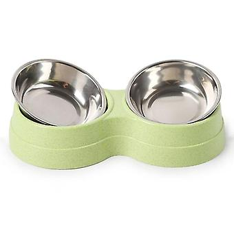 Double Bowls Dog Food -water Feeder Stainless Steel Dish