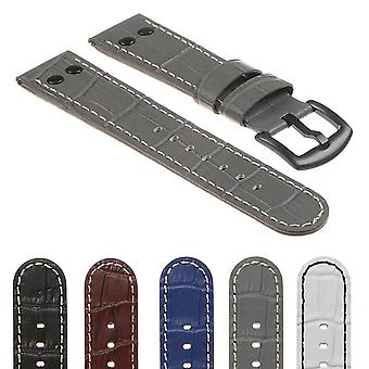 Strapsco dassari croc embossed leather pilot watch band w/ matte black rivets
