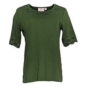 Quacker Factory Women's Top Scalloped & Jewel Detail Green A274007
