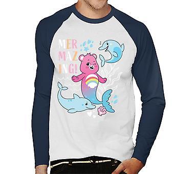 Hoitokarhut avaa Magic Cheer Bear Mermazing Dolphins Men's Baseball Pitkähihainen T-paita
