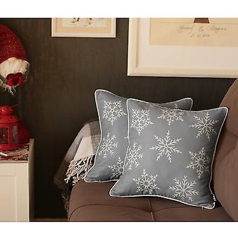 Snowflakes Printed Throw Pillow Cover Set
