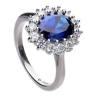 Diamonfire 925 Plata de ley Royal Azul Ronda Cubic Zirconia con Anillo Envolvente de Piedra Blanca