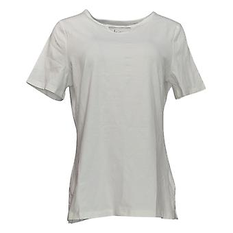 Denim & Co. Women's Top Essentials Tunic With Keyhole Detail White A378160