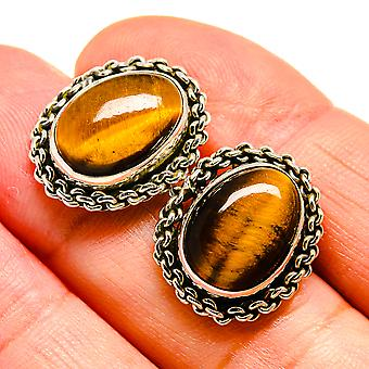 "Tiger Eye Earrings 3/4"" (925 Sterling Silver)  - Handmade Boho Vintage Jewelry EARR408400"
