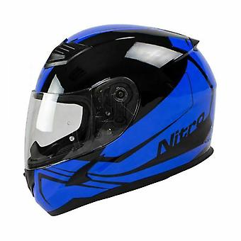 Nitro N2400 Rogue Pin Lock Ready Full Face Motorcycle Helmet Black Blue