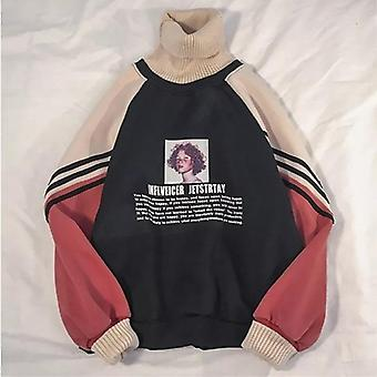 Hoodie Sweatshirt, Women Winter Oversize Tops, Pattern Printed Autumn