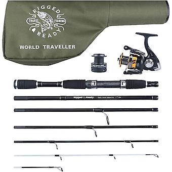 World Traveller Travel Fishing Rod Reel & Case Set. Compact 6 sections 2 tips.