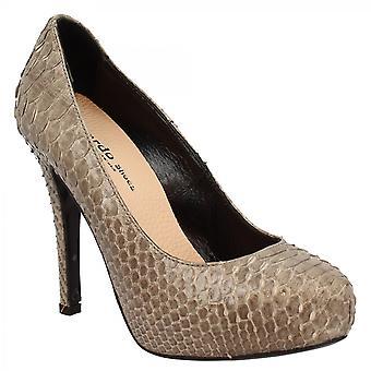 Leonardo Shoes Women's fait main élégant plateau talons hauts pompes chaussures en cuir python gris