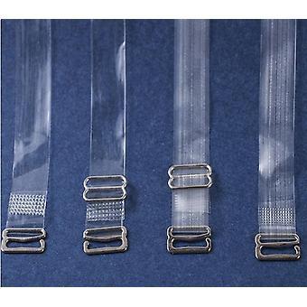 Women's Elastic Transparent Silicone Metal Buckle Bra Straps Belt