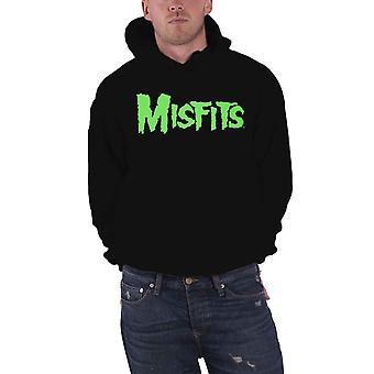 Misfits Hoodie Glow Jurek Skull Logo Back print Official Mens Black Pullover