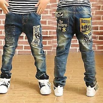 Spring/autumn Baby Letter Stitching Casual Jeans Pants