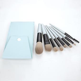 ماكياج فرش مجموعة 8 قطع المهنية تشكل فرشاة ضوء الأزرق هرتز-4
