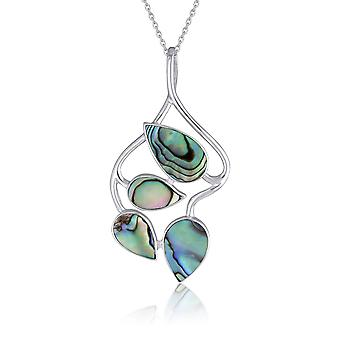 ADEN 925 Sterling Silver Abalone Mother-of-pearl Flower Pendant Necklace (id 4369)