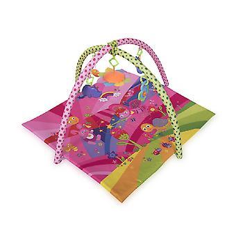 Lorelli Spela båge krypande filt Fairy Tales rosa färgglada leksaksspegel skallra