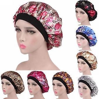 Head Cover Print Wide Elastic Band Sleep Cap