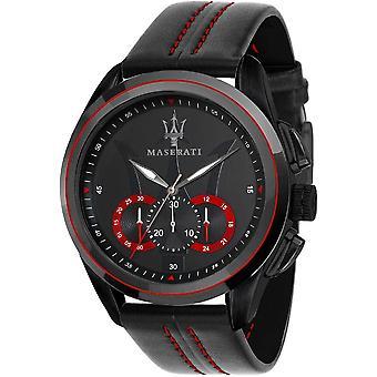Maserati R8871612023 Men's Traguardo Black Strap Chronograph Wristwatch
