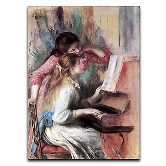 Nuoret tytöt pianolla 1 kangas
