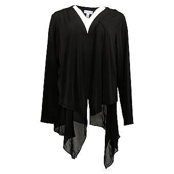 Susan Graver Women's Sweater Plus Liquid Cardigan Chiffon Black A387754