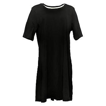 إسحاق مزراحي لايف! فستان عادي بيما القطن الكوع- الأكمام الأسود A351507