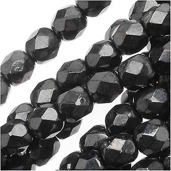 Czech Fire Polished Glass Beads 4mm Round 'Hematite' (50)