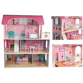 Puppenhaus aus Holz 75 x 60 x 23 cm - 3 Etagen pink