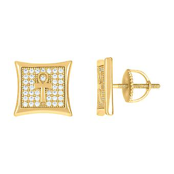 925 Sterling Silver Yellow tone Mens Cubic zirconia Ankh Cross Religious Stud Earrings Jewelry Gifts for Men