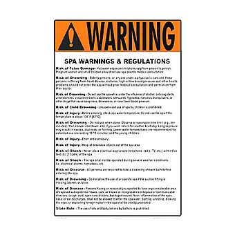Aqtech 4511WS1218E Rules Sign for Spa