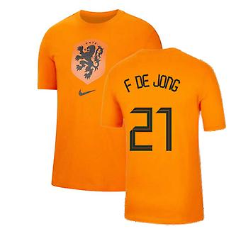2020-2021 Holanda Nike Evergreen Crest Tee (Naranja) (F DE JONG 21)