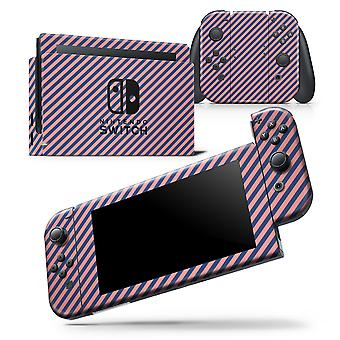 Coral And Navy Blue Diagnoal Stripes - Skin Wrap Decal For Nintendo