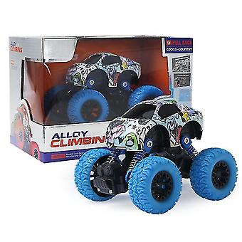 אינרציאלי למשוך בחזרה דו גלגלי כונן נגד נפילה מחוץ לכביש צעצוע מכונית מסגסוגת(כחול)