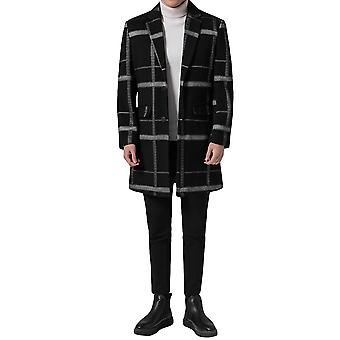 Yunyun Men's Mid-length Suit Collar Thin Casual Button Down Plaid Pocket Overcoat
