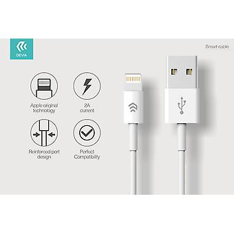 USB to Lightning Cable 2M White - Durable - Charging and Data Cable - Pure Copper Wire - Suitable for iPhone / iPads / Airpods