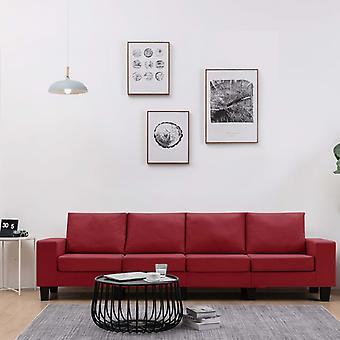 vidaXL 4 canapé-siège canapé-vin rouge tissu