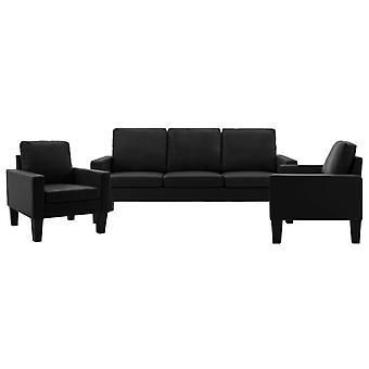 vidaXL 3-tlg. Canapé-fourré noir simili-faux