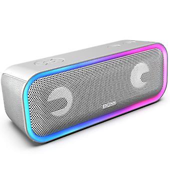 Alto-falante Bluetooth DOSS SoundBox Pro Plus, alto-falante de 24W, caixa de música com efeitos de luz, super graves, emparelhamento estéreo sem fio, 17 horas de duração da bateria, slot para cartão TF(Cinza)
