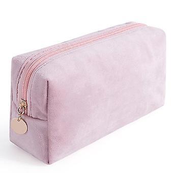 Portable velvet bronzing cosmetic bag large lipstick bag(Pink)