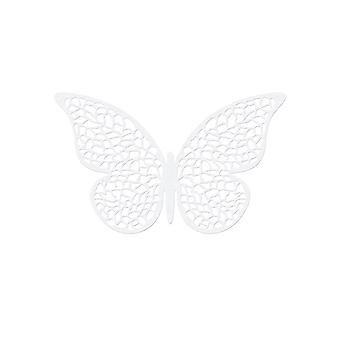 10 Pearl White 6.5cm Kortblad Detaljerad Fjäril