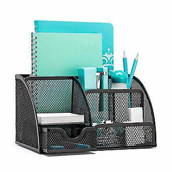 Office Desk Organizer With 6 Compartments Collection Mesh Drawer(Black)