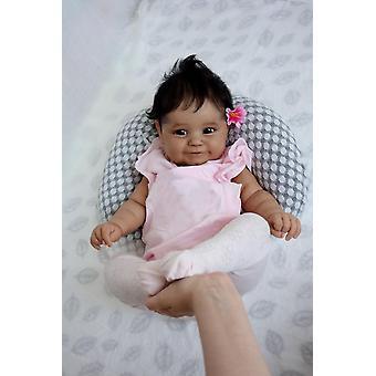 Wedergeboorte pop 50cm zachte lichaam zwarte huid Afrikaanse Amerikaanse baby maddie herboren baby meisje flexibel handgeworteld haar met fles en fopspeen schattig cadeau