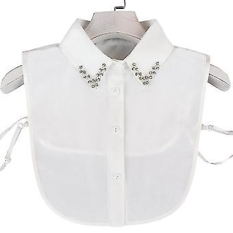 Anti Ryppy puoli paidat kirjonta väärä kaulus niittaus kristalli irrotettava pusero