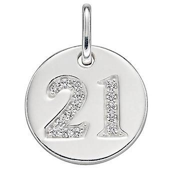 Débuts 21 Pendentif à disque en zircone cubique - Argent